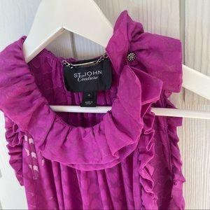 St. John couture silk purple ruffle sleeves blouse